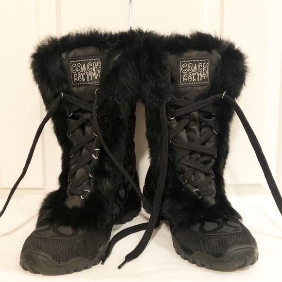 Coach logo Jennie rabbit fur trim black boots. 8B